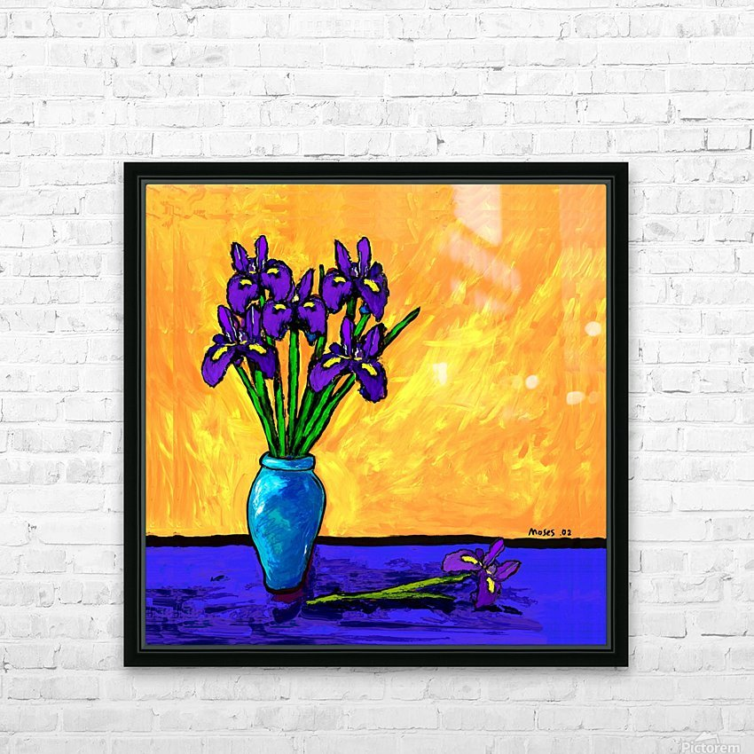 IRIS BOUQUET ON YELLOW HD Sublimation Metal print with Decorating Float Frame (BOX)
