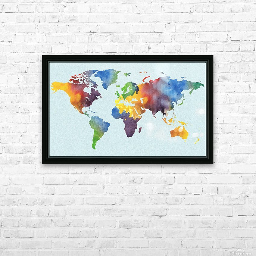 Bright Watercolor Map Of The World HD Sublimation Metal print with Decorating Float Frame (BOX)