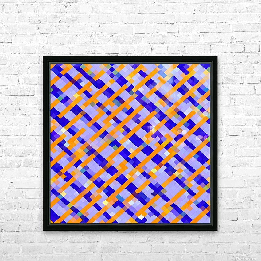 geometric pixel square pattern abstract background in orange blue purple HD Sublimation Metal print with Decorating Float Frame (BOX)