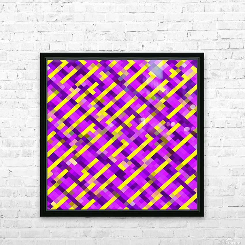geometric pixel square pattern abstract background in pink purple yellow HD Sublimation Metal print with Decorating Float Frame (BOX)