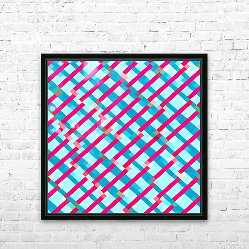 geometric pixel square pattern abstract background in blue pink HD Sublimation Metal print with Decorating Float Frame (BOX)