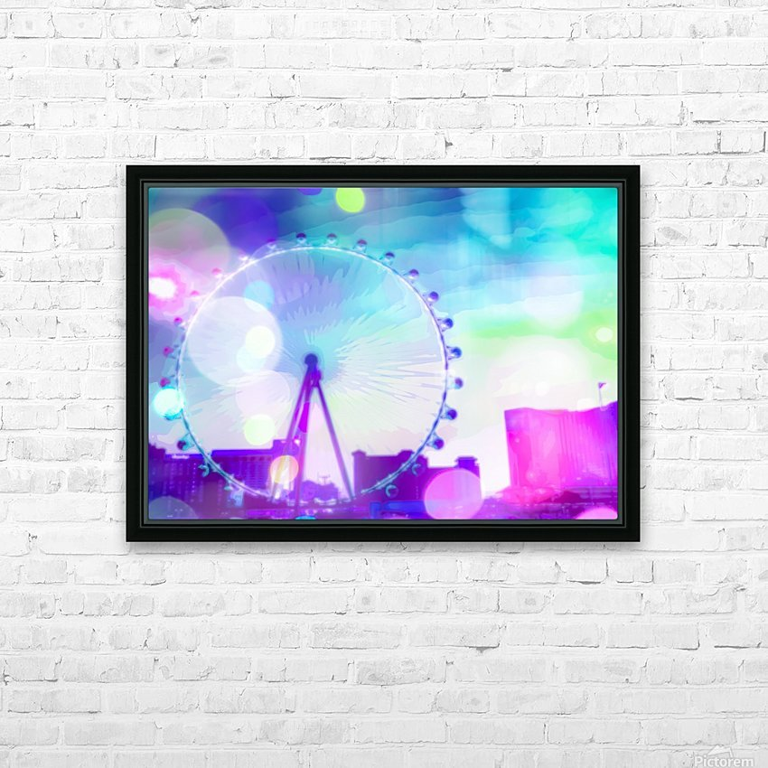 ferris wheel in the city at Las Vegas, USA with the night light bokeh HD Sublimation Metal print with Decorating Float Frame (BOX)