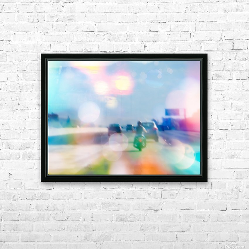 car and motorcycle on the road in the city with bokeh light HD Sublimation Metal print with Decorating Float Frame (BOX)
