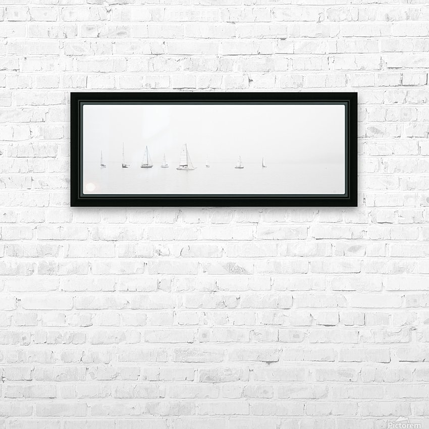 sea black and white ocean boats HD Sublimation Metal print with Decorating Float Frame (BOX)