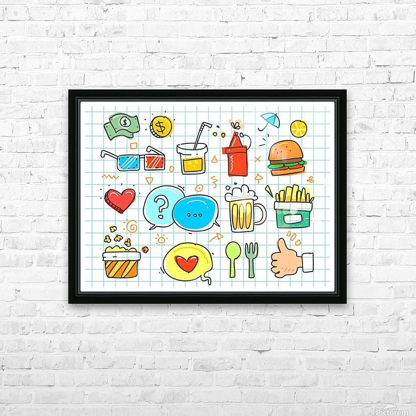 colorful doodle HD Sublimation Metal print with Decorating Float Frame (BOX)