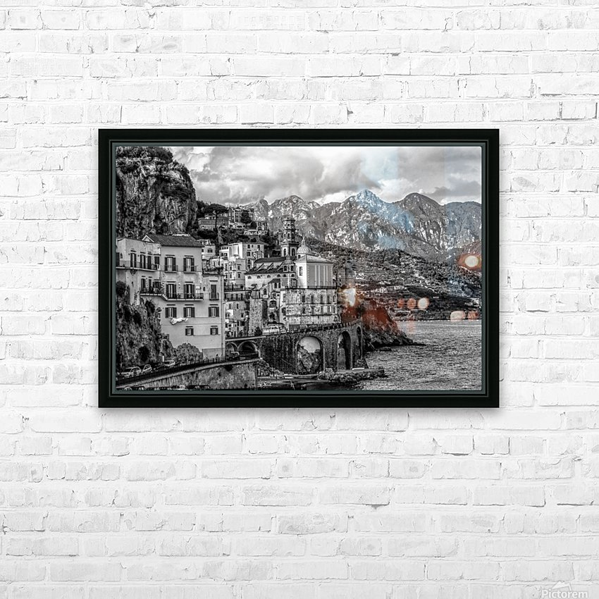 Black and White Landscape - Amalfi Coast - Italy HD Sublimation Metal print with Decorating Float Frame (BOX)