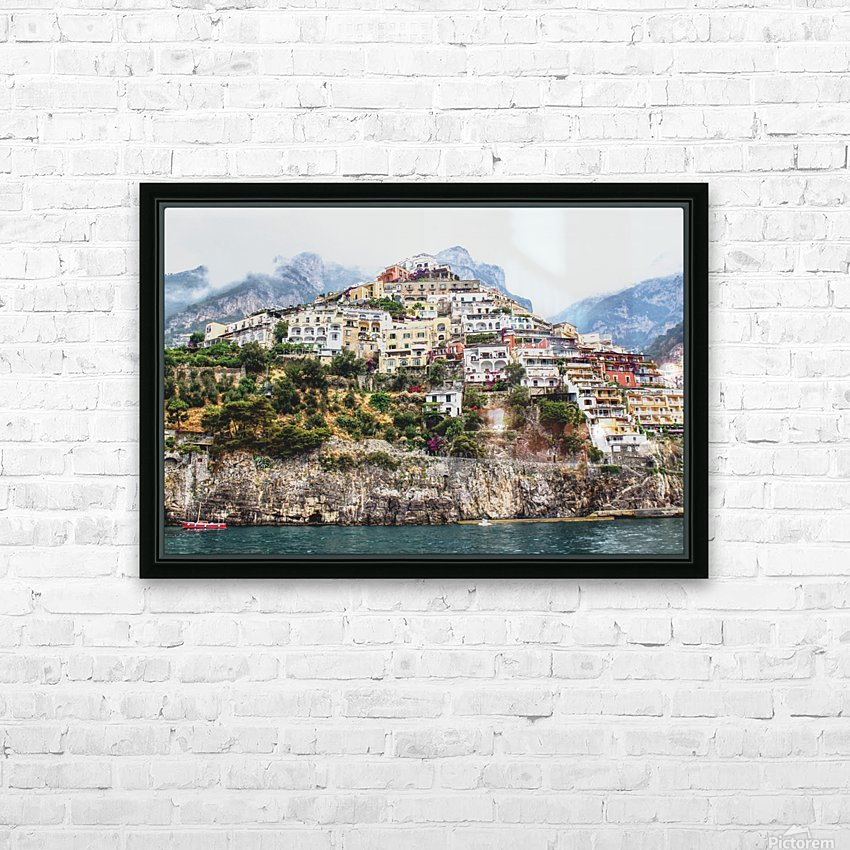 Positano Village Landscape - Italy HD Sublimation Metal print with Decorating Float Frame (BOX)