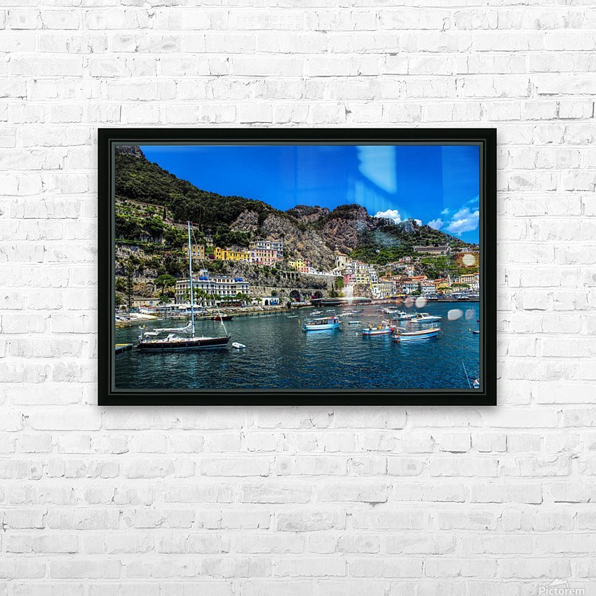 Amalfi Coast Panoramic View HD Sublimation Metal print with Decorating Float Frame (BOX)