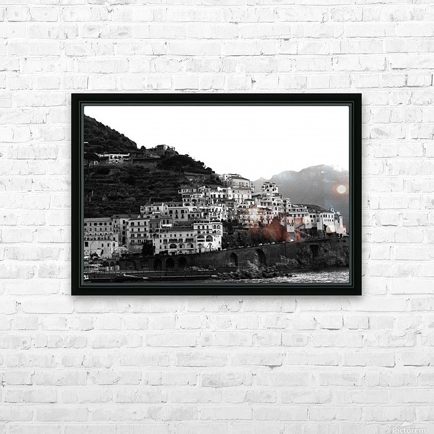 Amalfi Village -  Black and White Landscape HD Sublimation Metal print with Decorating Float Frame (BOX)