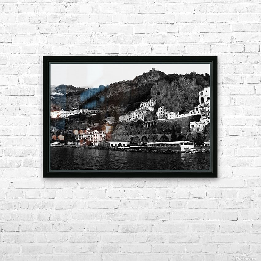 Amalfi Coast Black and White Landscape HD Sublimation Metal print with Decorating Float Frame (BOX)