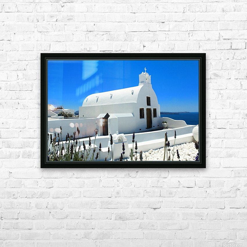 Small White Church in Santorini - Greece HD Sublimation Metal print with Decorating Float Frame (BOX)