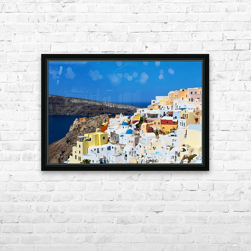 Santorini Landscape - Greece HD Sublimation Metal print with Decorating Float Frame (BOX)