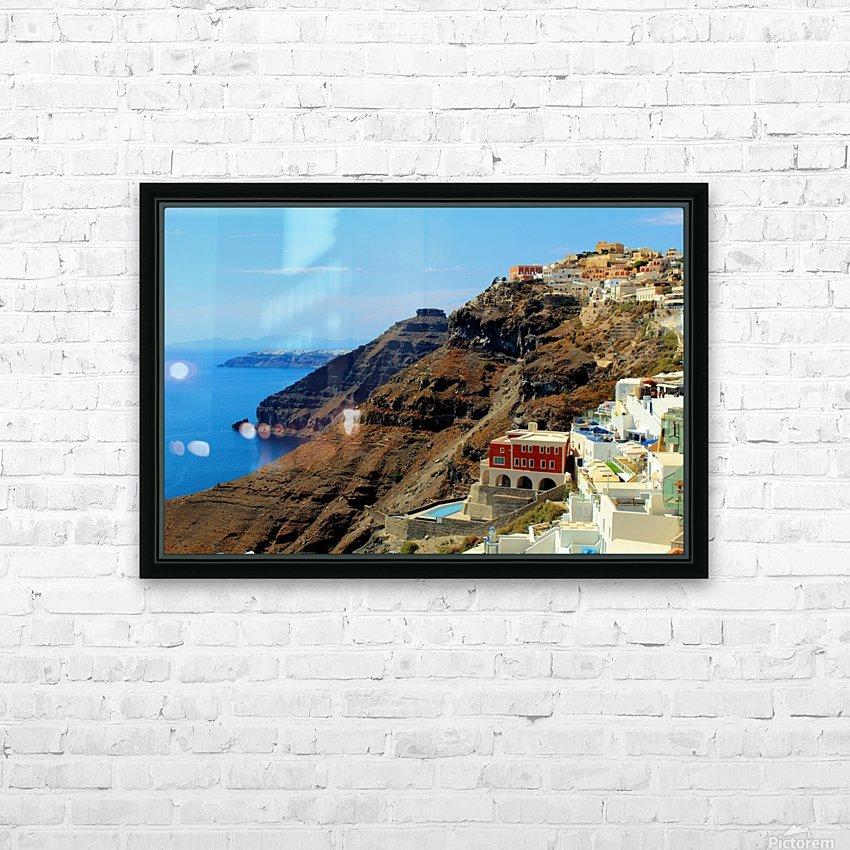Santorini Mountains Landscape - Greece HD Sublimation Metal print with Decorating Float Frame (BOX)