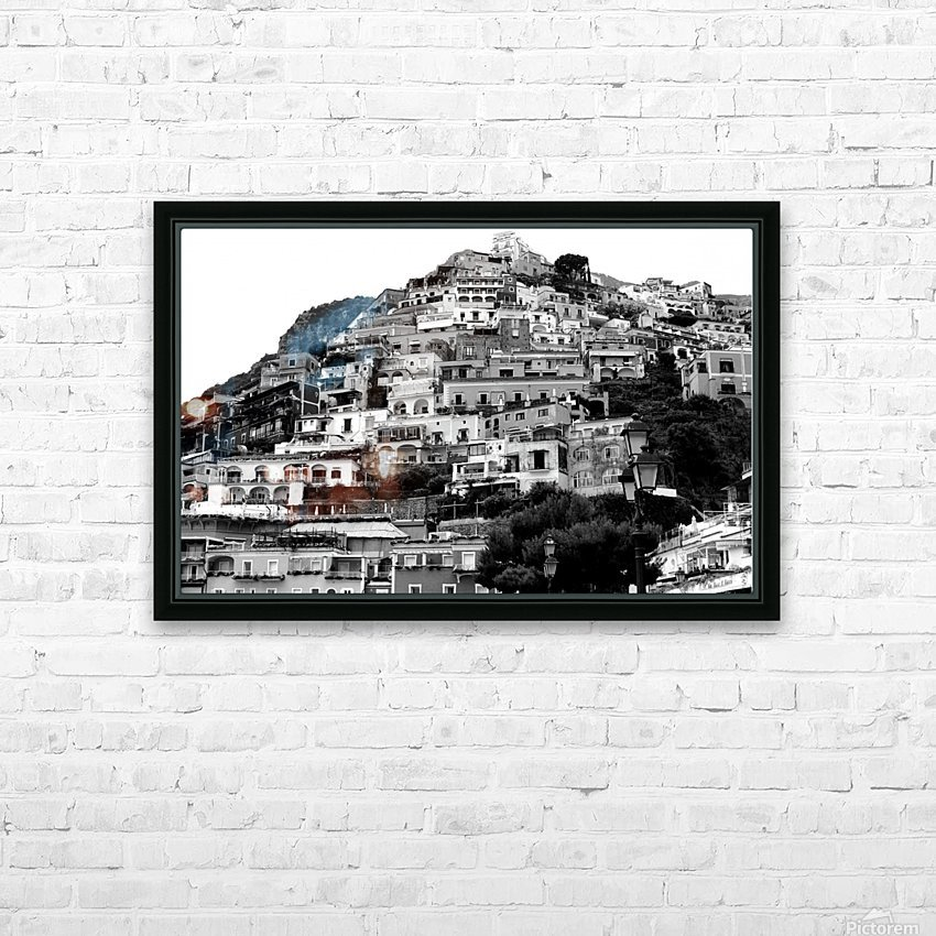 Black and White Landscape - Positano - Italy HD Sublimation Metal print with Decorating Float Frame (BOX)
