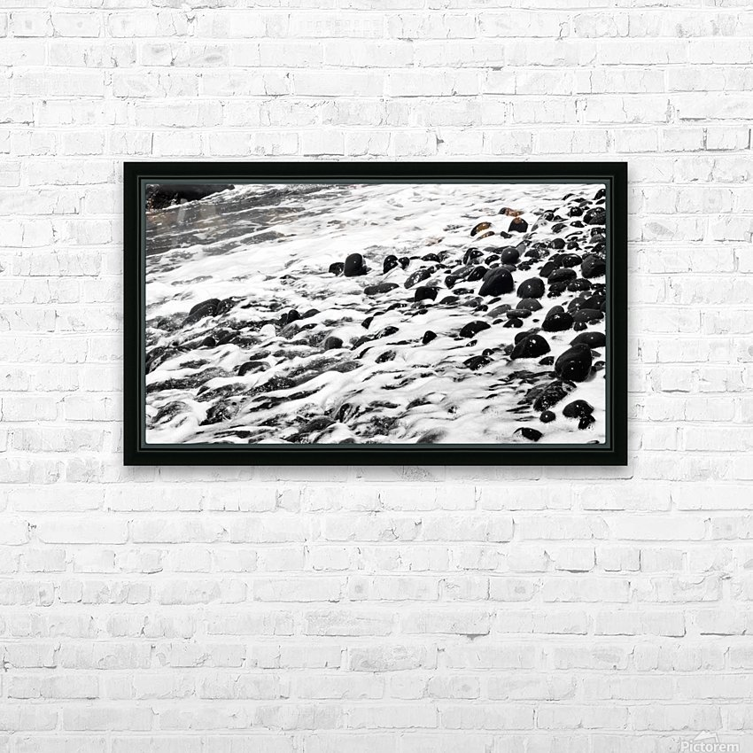 Beach Rocks Black and White II HD Sublimation Metal print with Decorating Float Frame (BOX)
