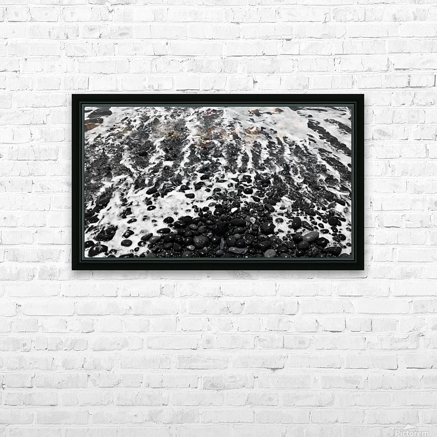 The Beach - Ocean waves in Black and White HD Sublimation Metal print with Decorating Float Frame (BOX)