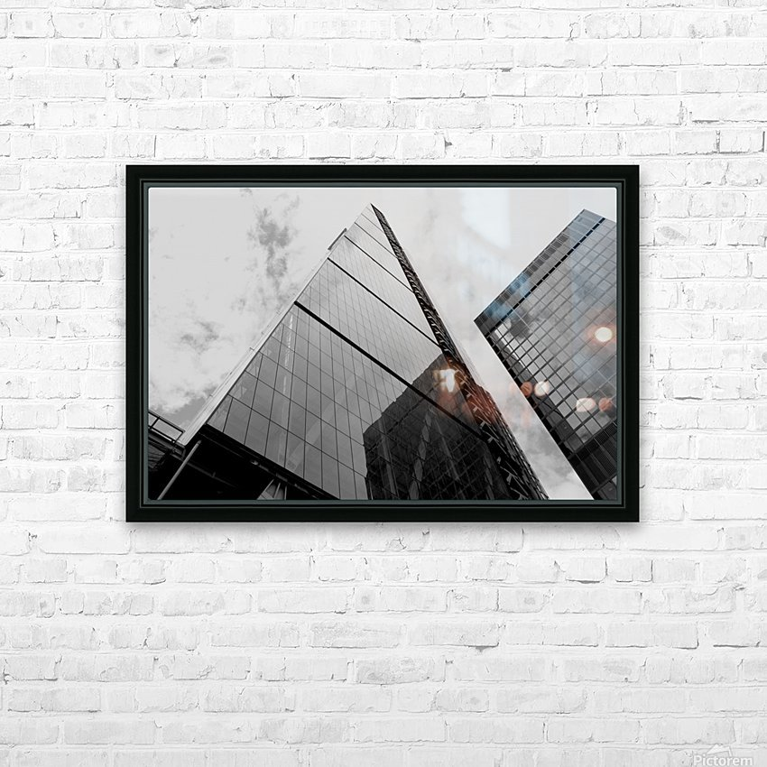 London Skyscraper III - Black and White HD Sublimation Metal print with Decorating Float Frame (BOX)