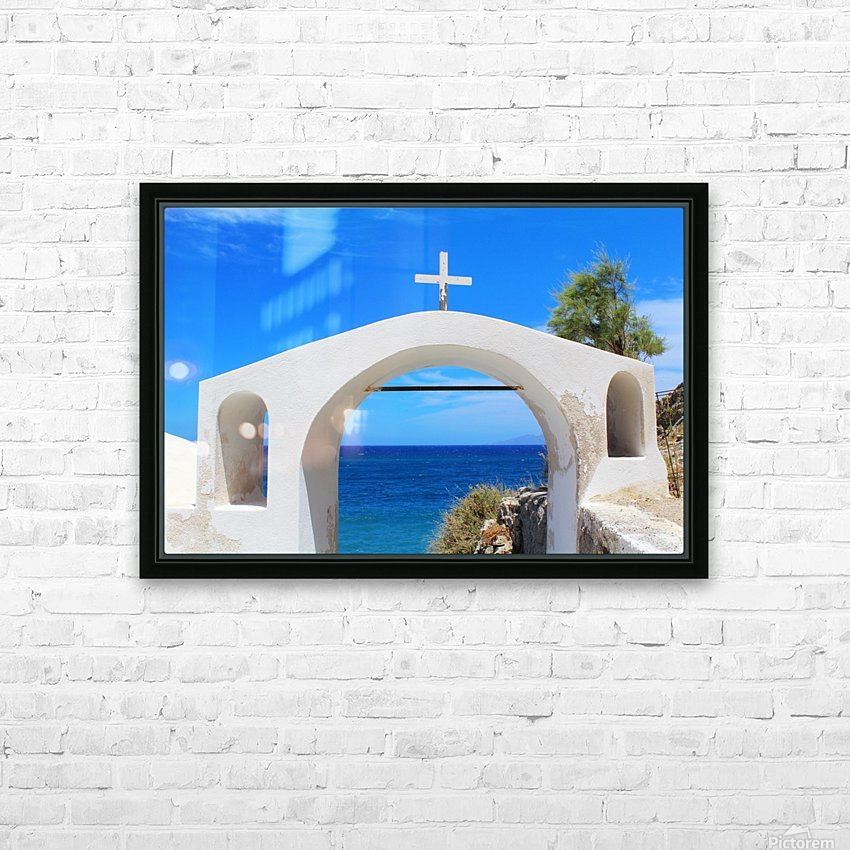 The Arch - Santorini Island HD Sublimation Metal print with Decorating Float Frame (BOX)