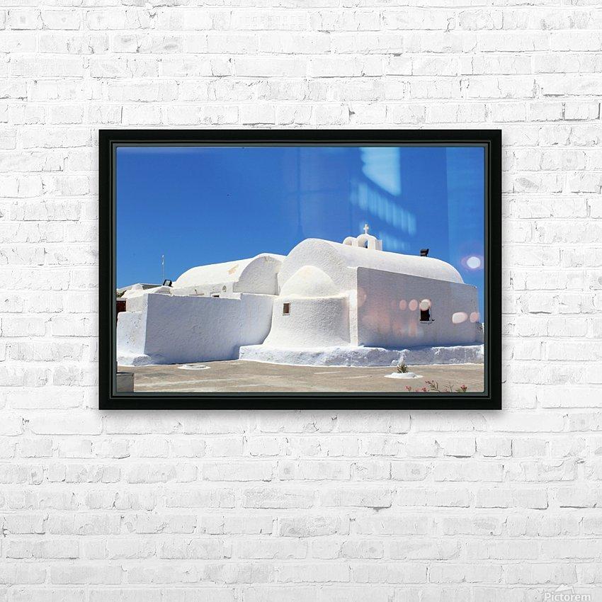 White Church -Santorini Island -  Greece HD Sublimation Metal print with Decorating Float Frame (BOX)