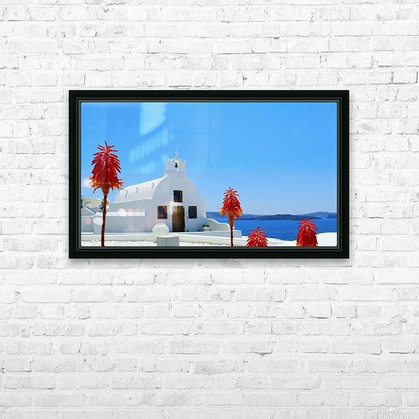 Santorini Island Landscape - Greece HD Sublimation Metal print with Decorating Float Frame (BOX)