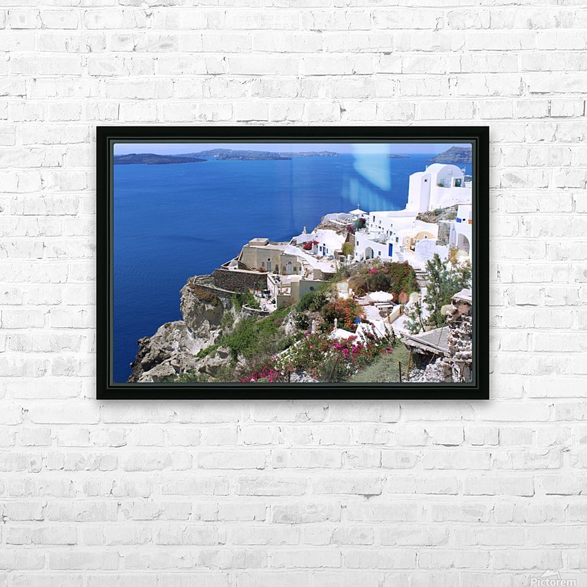 Colourful Santorini Landscape  HD Sublimation Metal print with Decorating Float Frame (BOX)