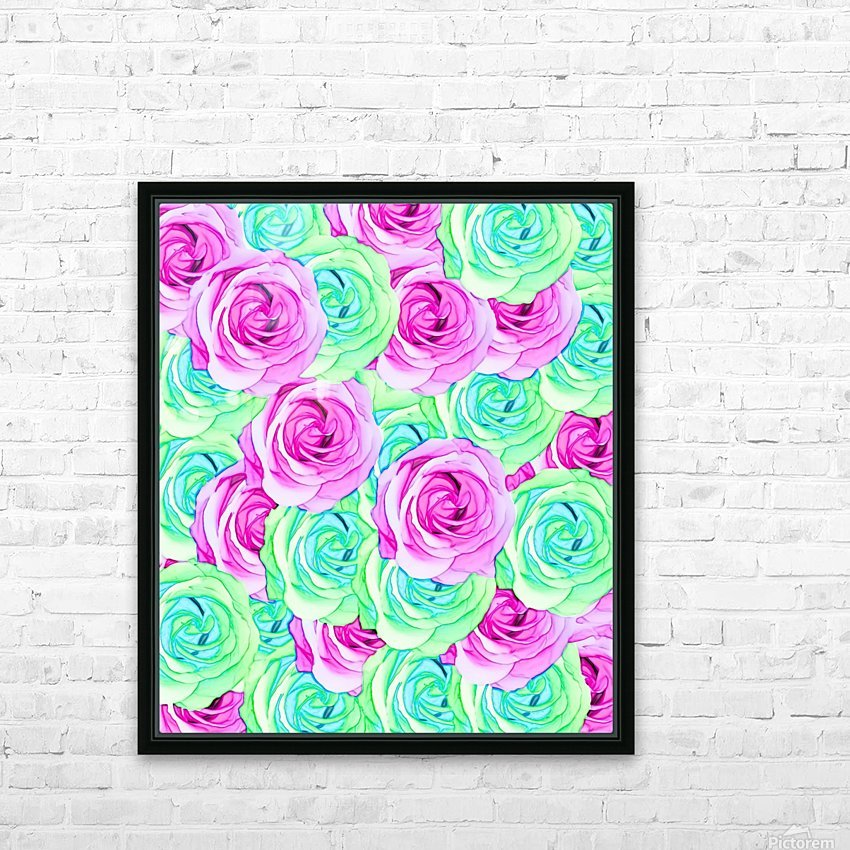 blooming rose texture pattern abstract background in pink and green HD Sublimation Metal print with Decorating Float Frame (BOX)