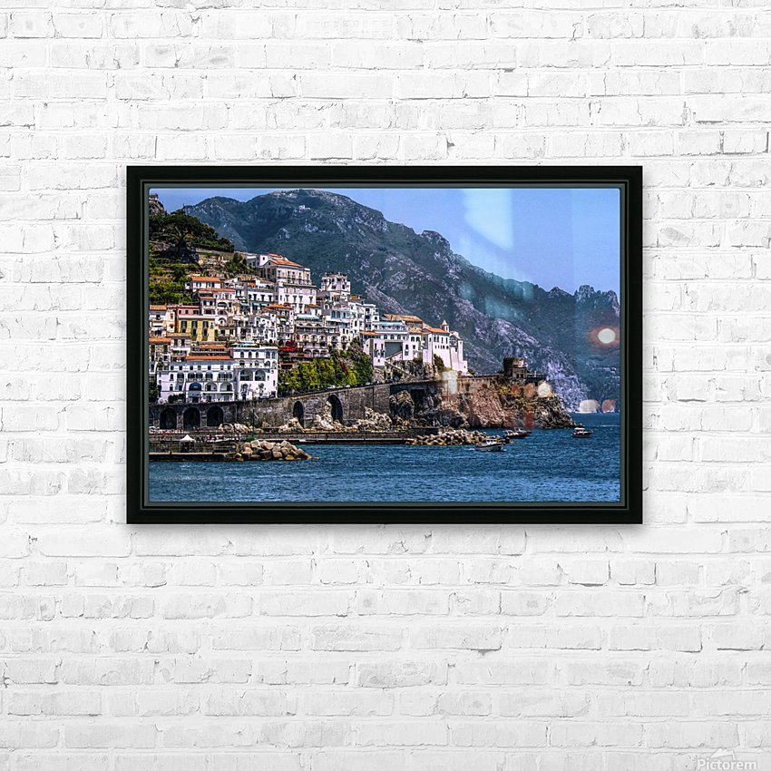 Artistic Amalfi Coast Landscape HD Sublimation Metal print with Decorating Float Frame (BOX)