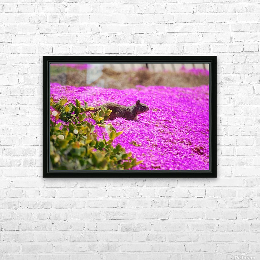 Pink Wild Flowers on a Hill With a Squirrel HD Sublimation Metal print with Decorating Float Frame (BOX)