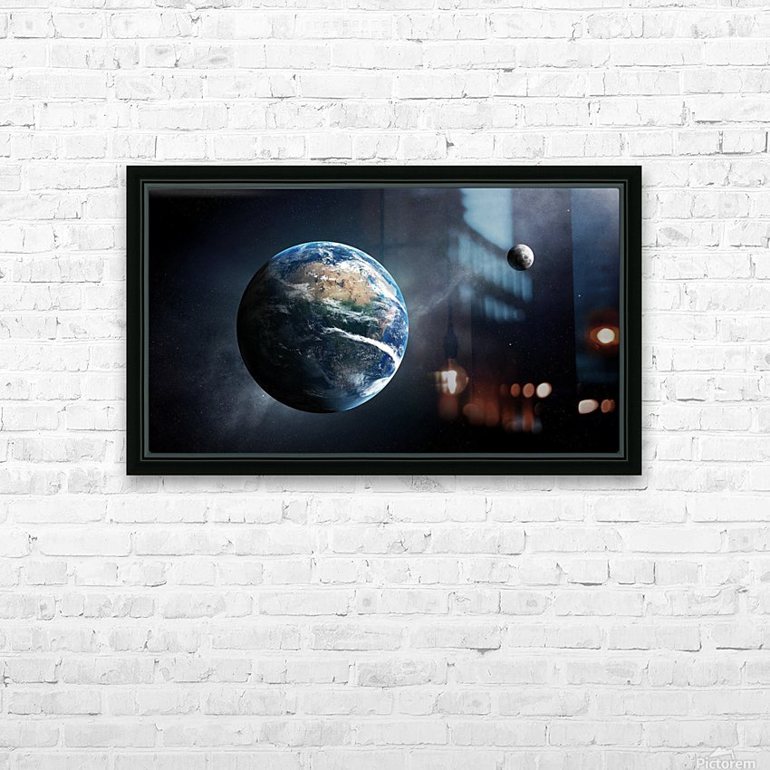 Earth and moon space view HD Sublimation Metal print with Decorating Float Frame (BOX)