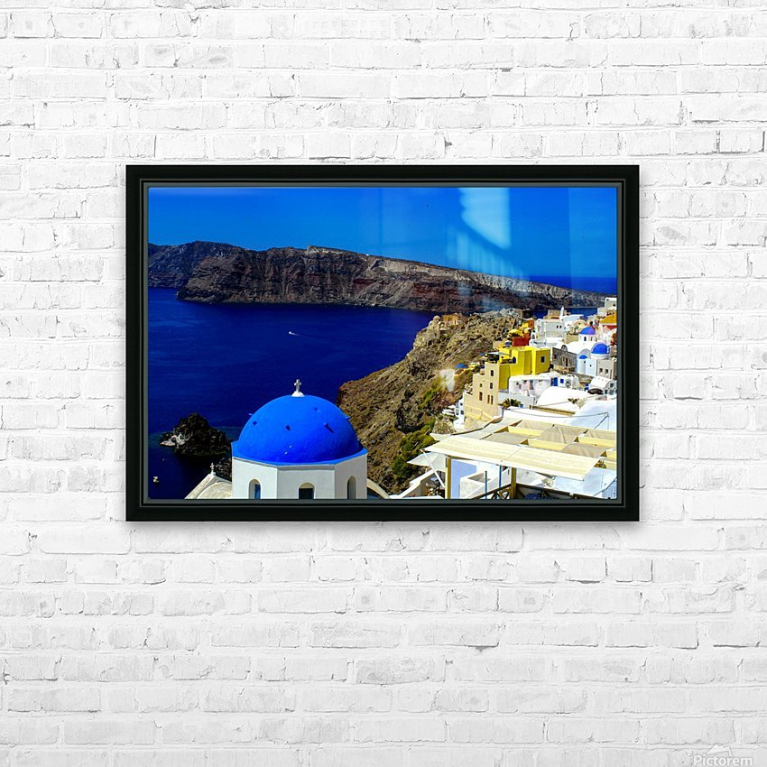 Santorini  - Super Colorful Landscape HD Sublimation Metal print with Decorating Float Frame (BOX)
