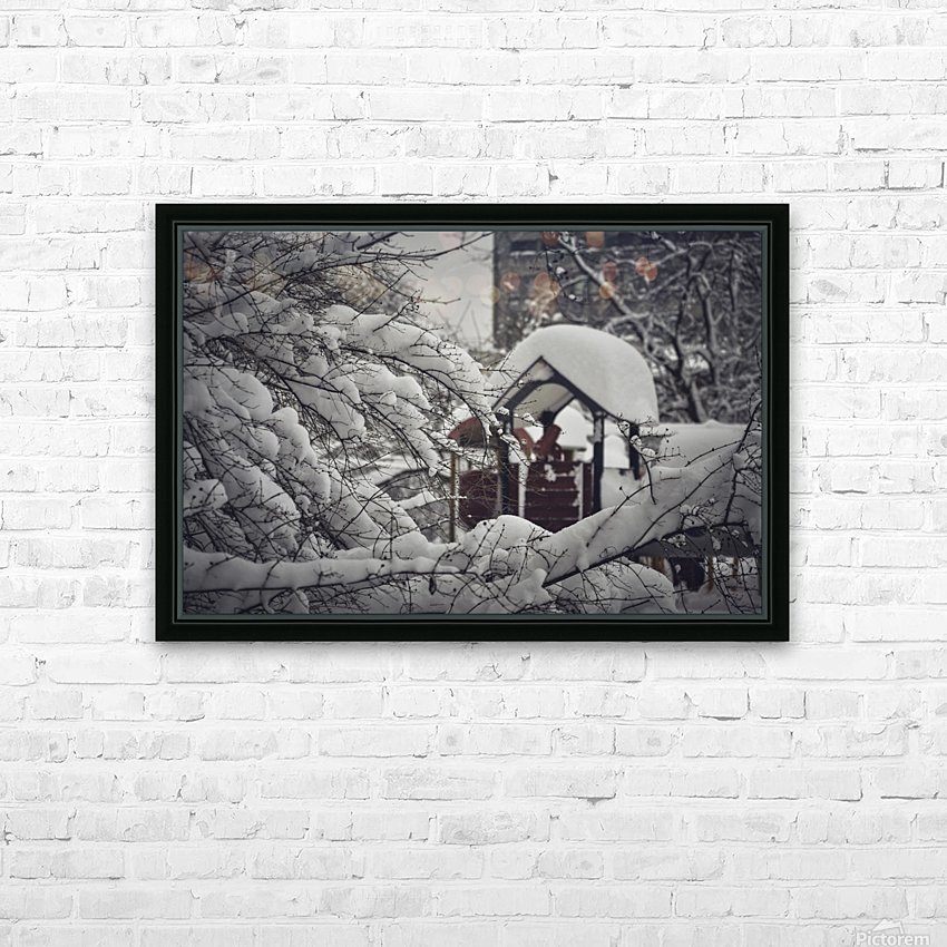 Red Playground Under Snow HD Sublimation Metal print with Decorating Float Frame (BOX)