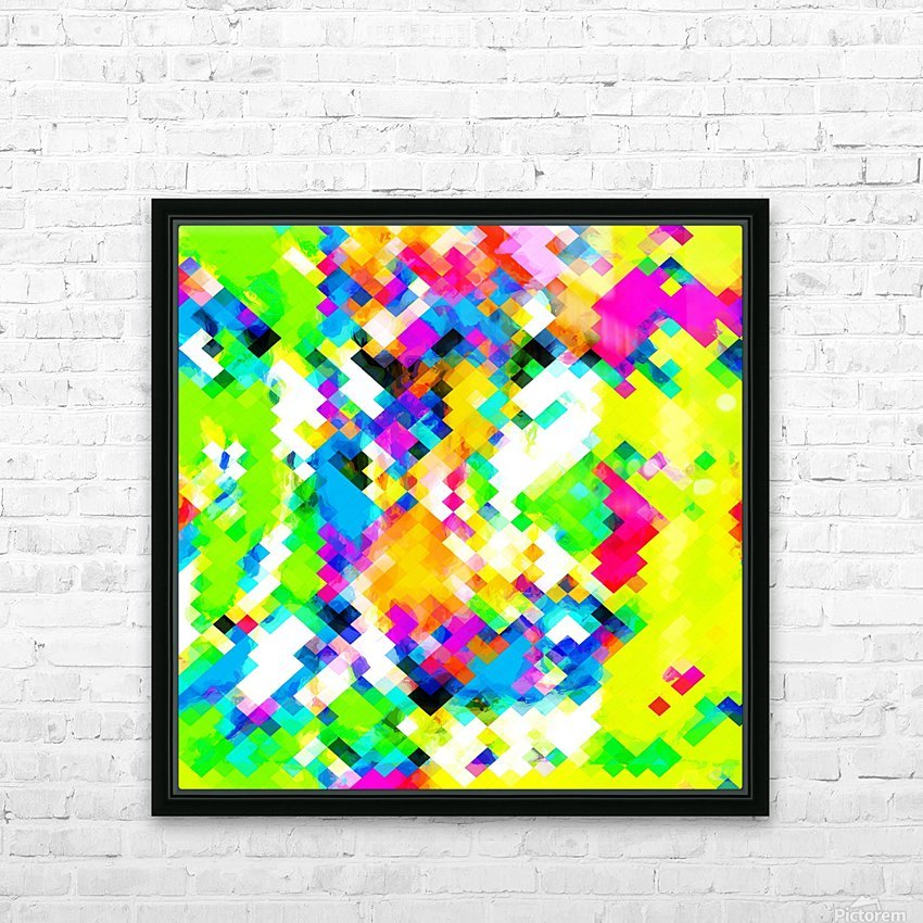 psychedelic geometric pixel abstract pattern in yellow blue green pink HD Sublimation Metal print with Decorating Float Frame (BOX)