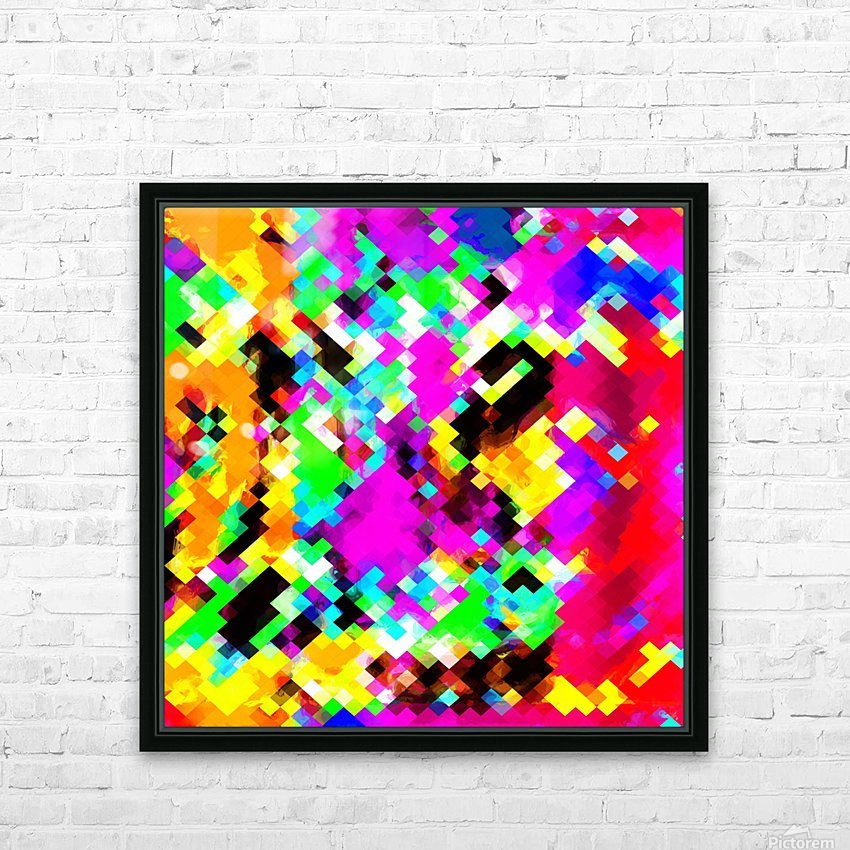 psychedelic geometric pixel abstract pattern in pink purple blue green yellow HD Sublimation Metal print with Decorating Float Frame (BOX)