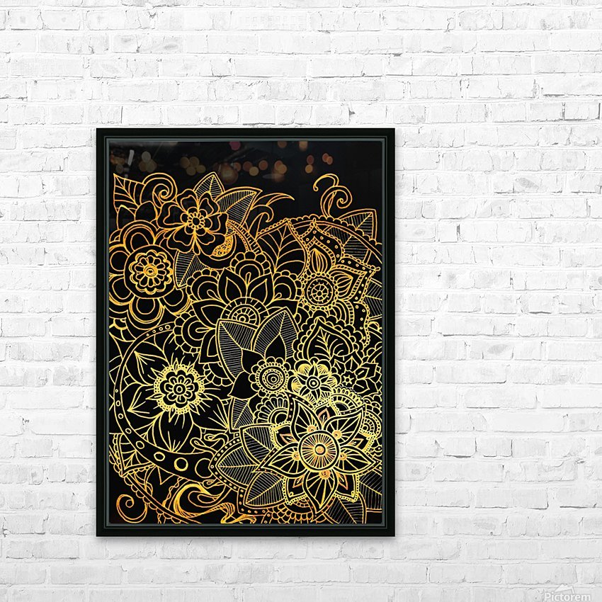 Floral Doodle Gold G523 HD Sublimation Metal print with Decorating Float Frame (BOX)