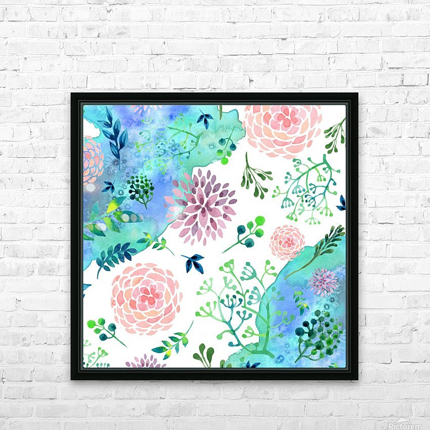 flower and blue agate HD Sublimation Metal print with Decorating Float Frame (BOX)