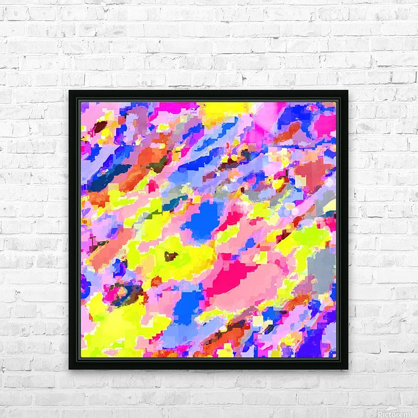 psychedelic geometric square pixel pattern abstract in pink yellow blue HD Sublimation Metal print with Decorating Float Frame (BOX)