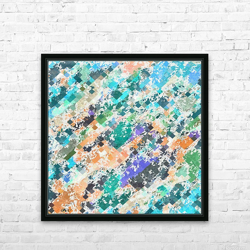 psychedelic geometric square pixel pattern abstract in green blue purple orange HD Sublimation Metal print with Decorating Float Frame (BOX)