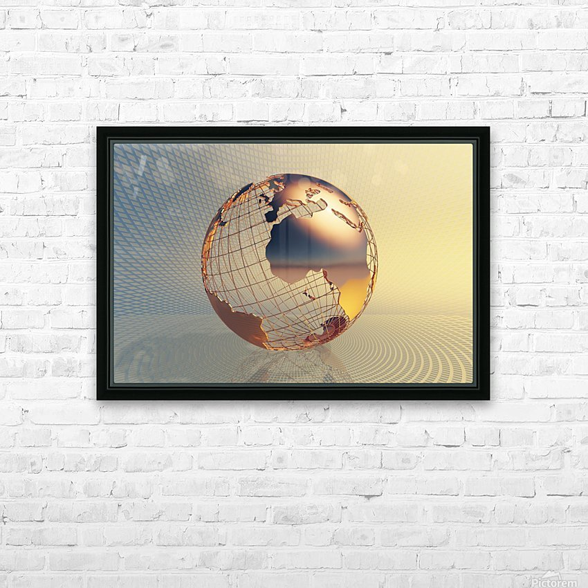 World global business background HD Sublimation Metal print with Decorating Float Frame (BOX)