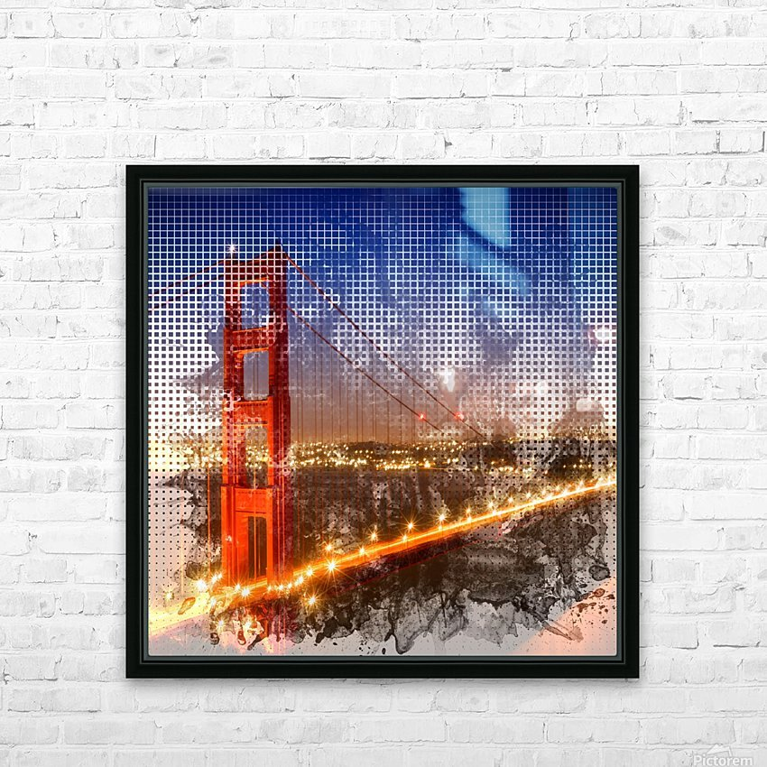 Graphic Art Golden Gate Bridge   watercolour style HD Sublimation Metal print with Decorating Float Frame (BOX)