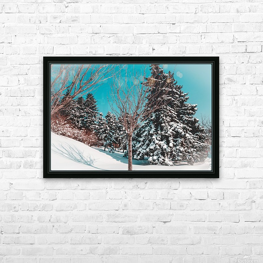 Snowy Pine Trees HD Sublimation Metal print with Decorating Float Frame (BOX)