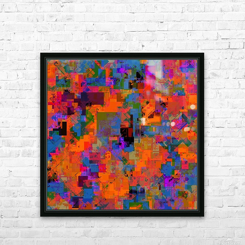 psychedelic geometric square pattern abstract background in orange blue red HD Sublimation Metal print with Decorating Float Frame (BOX)