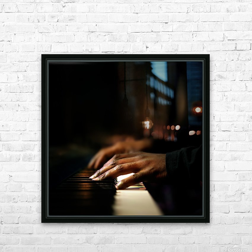 Hands playing piano close-up HD Sublimation Metal print with Decorating Float Frame (BOX)