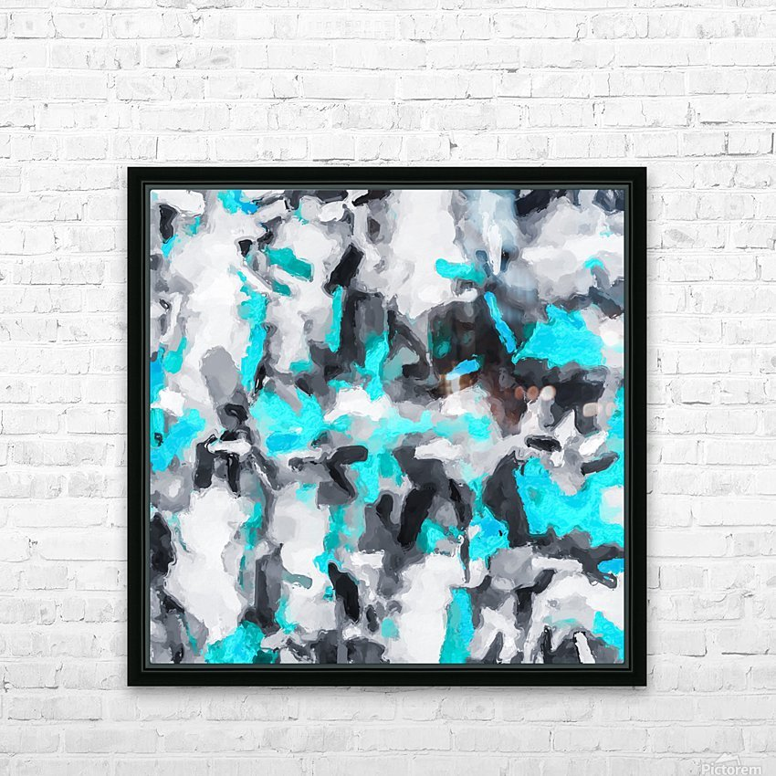 splash painting texture abstract background in blue and black HD Sublimation Metal print with Decorating Float Frame (BOX)