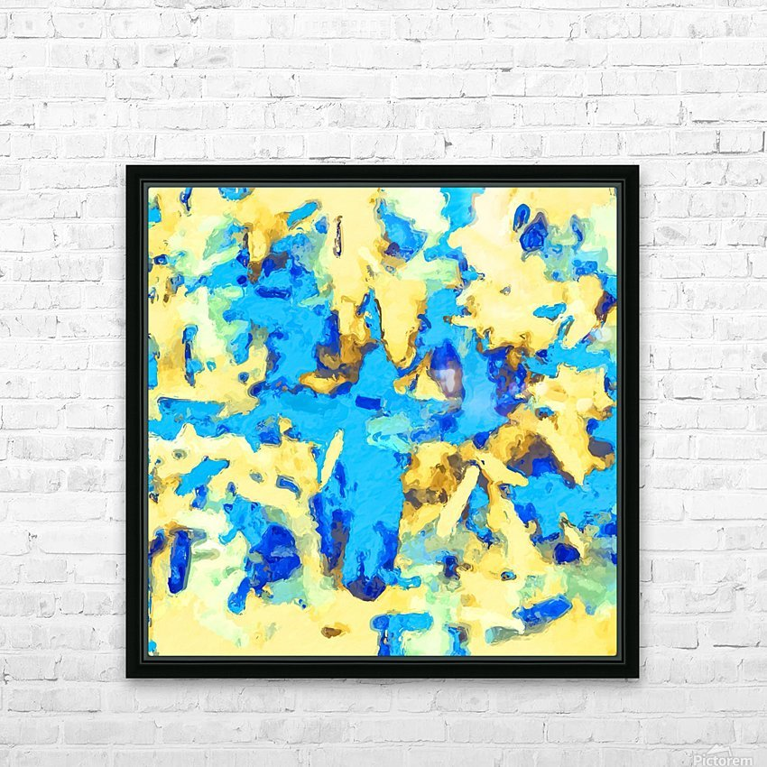 splash painting texture abstract background in blue and yellow HD Sublimation Metal print with Decorating Float Frame (BOX)