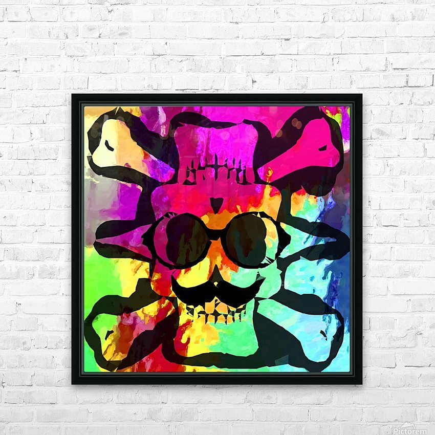 old vintage funny skull art portrait with painting abstract background in red purple yellow green HD Sublimation Metal print with Decorating Float Frame (BOX)