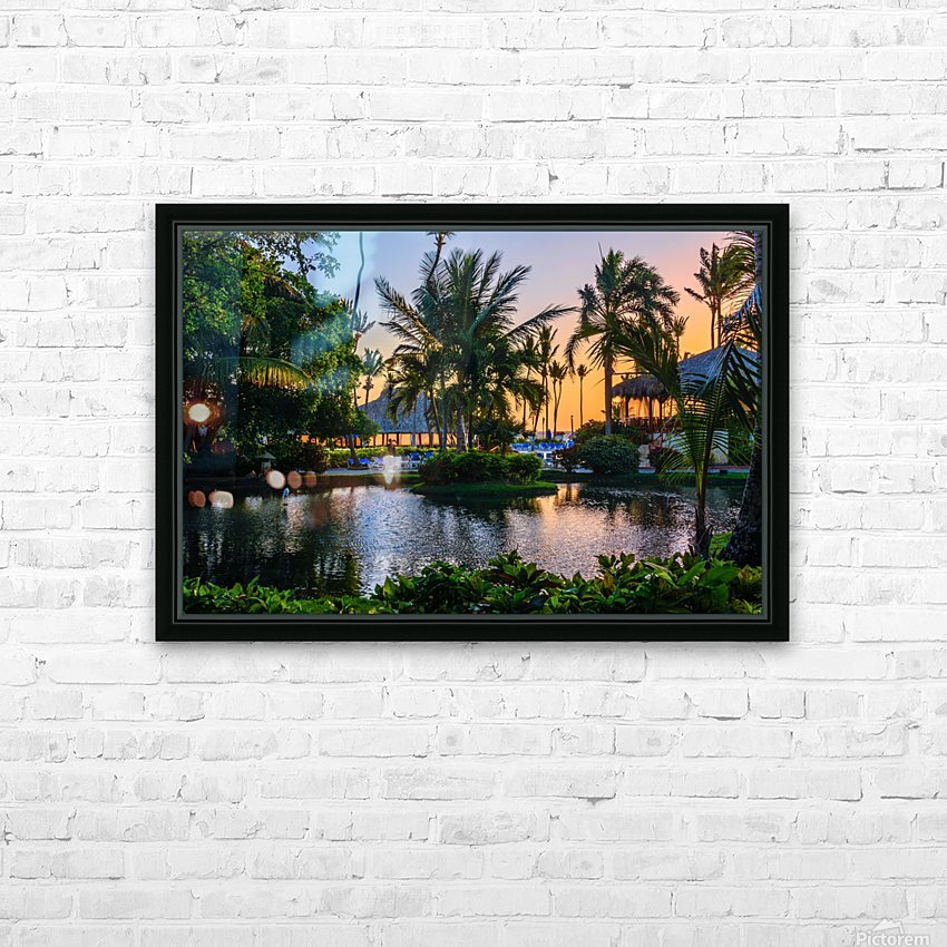 Multicolored tropical dawn with pond and palm trees, white pelican HD Sublimation Metal print with Decorating Float Frame (BOX)
