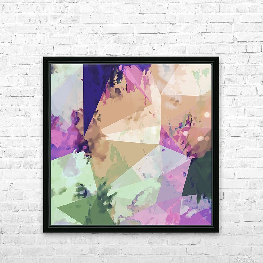 psychedelic geometric triangle polygon pattern abstract in pink green brown blue HD Sublimation Metal print with Decorating Float Frame (BOX)