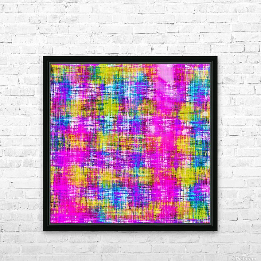plaid pattern painting texture abstract background in pink purple blue yellow HD Sublimation Metal print with Decorating Float Frame (BOX)