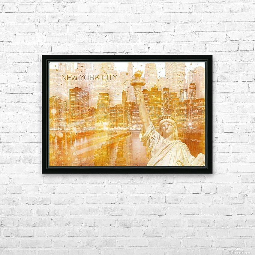 Graphic Art MANHATTAN Collage | golden HD sublimation métal imprimé avec décoration flotteur cadre (boîte)