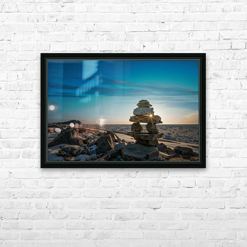 Inukshuk at la Bloc HD Sublimation Metal print with Decorating Float Frame (BOX)
